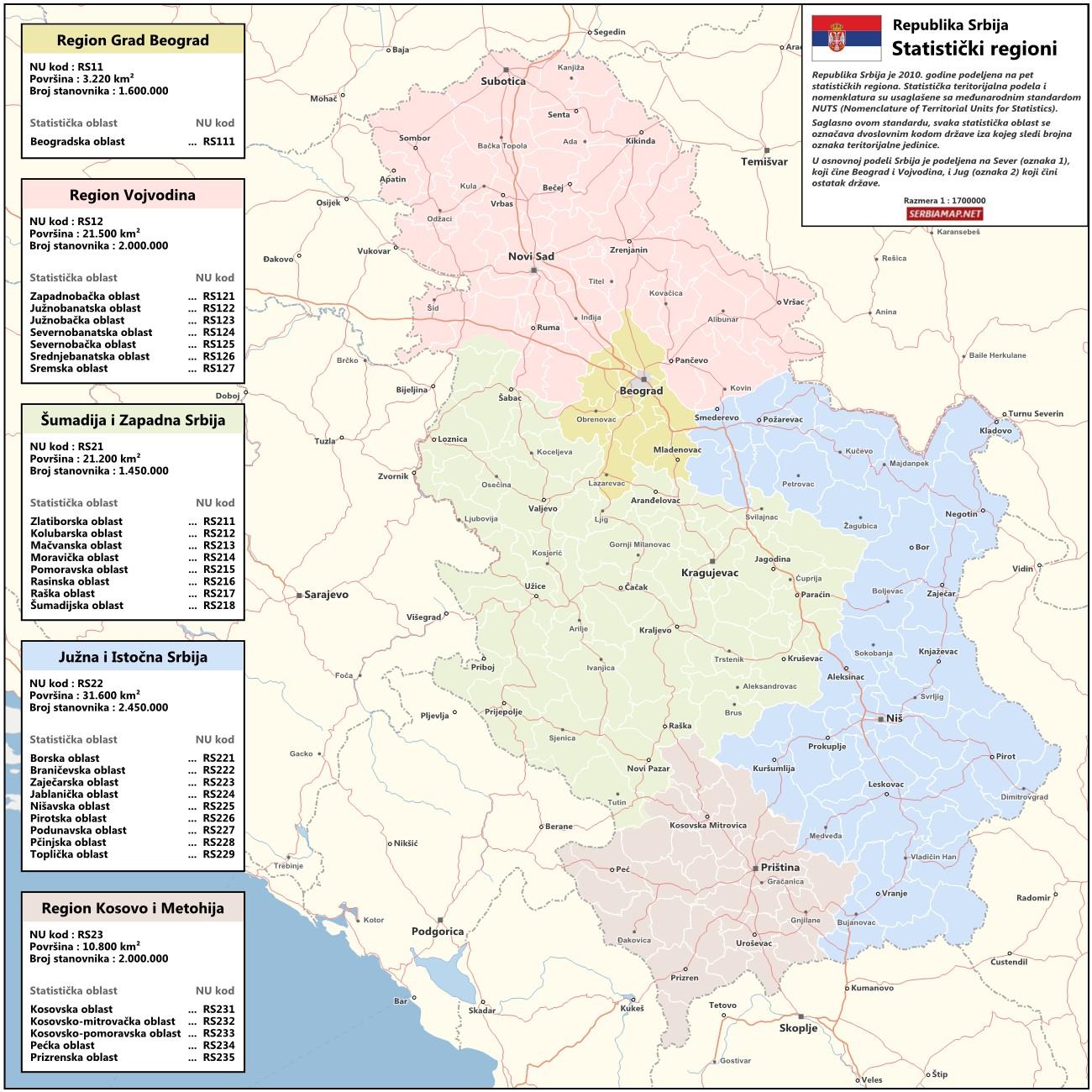 mapa srbije regioni Mapa mapa srbije regioni