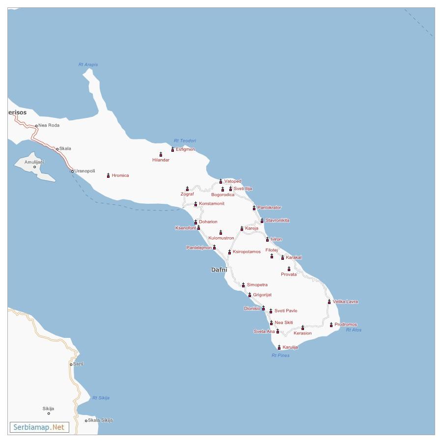 Mapa Svete Gore Atosa