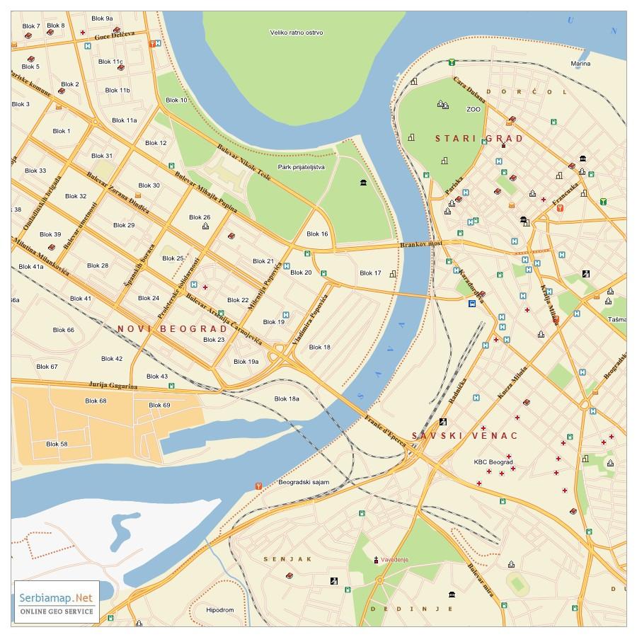 mapa novog beograda Mapa mapa novog beograda