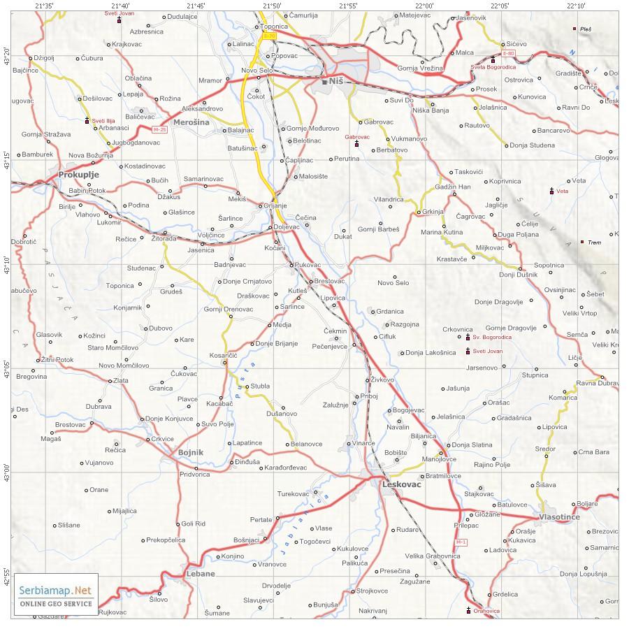 mapa leskovca Mapa mapa leskovca